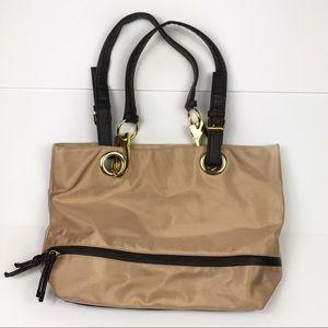 Braciano Tan / Gold Hardware Unique Shoulder Bag